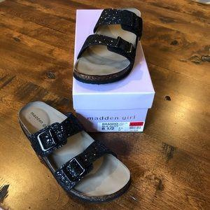 Madden Girl Brando Black Glitter Sandal Sz 8 1/2